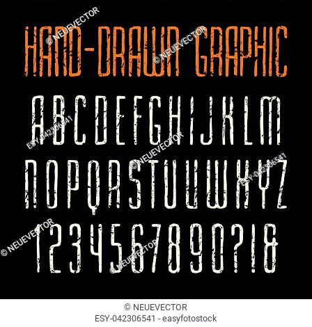 Narrow sanserif font in the style of handmade graphics. Letters with shabby texture. Print on black background
