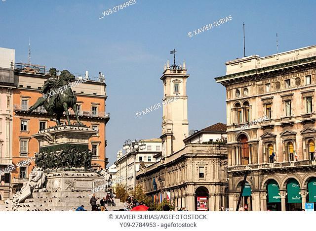 Vittorio Emanuele II monument, Duomo Square, Milan, Lombardy, Italy
