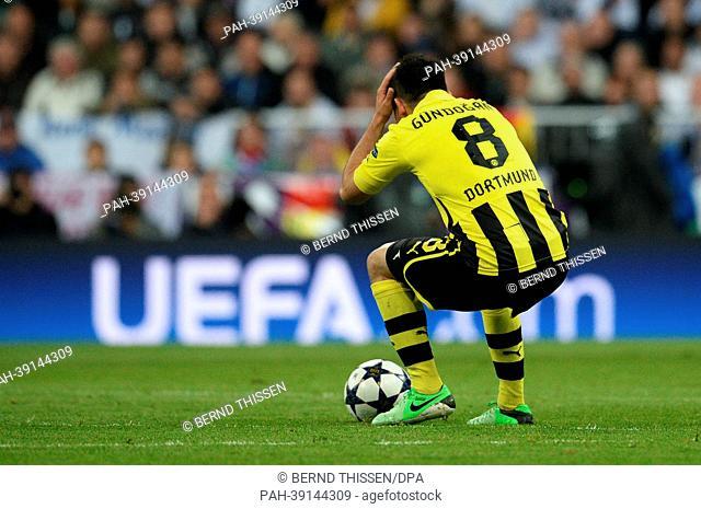 Dortmund's Ilkay Guendogan reacts during the UEFA Champions League semi final second leg soccer match between Borussia Dortmund and Real Madrid at Santiago...