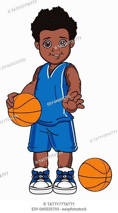 boy afro basketball player wth two balls