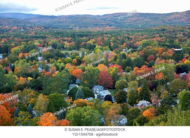 An autumn view from above  Greenfield, Massachusetts, United States