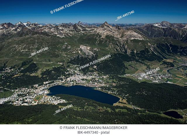 St.Moritz with St.Moritzsee, Piz Rosatsch, Piz Ot, Engadin, Canton of Grisons, Switzerland