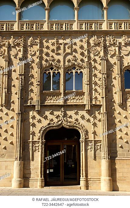 Baeza (Jaén) Spain. Detail of the facade of the Jabalquinto Palace in the town of Baeza