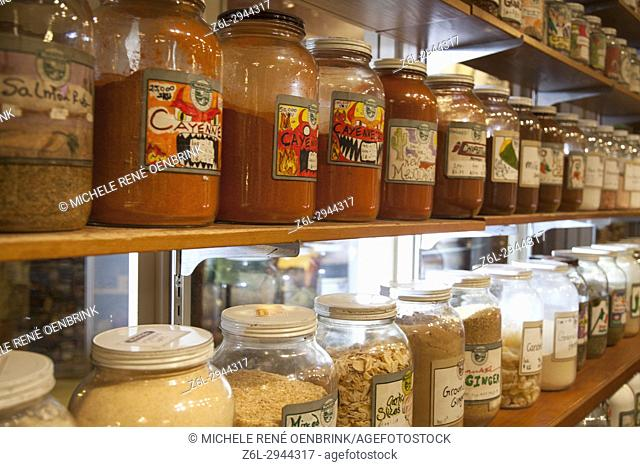 Tea and herbal tea for sale in mason jars in Pikes Place Public Market center Seattle Washington