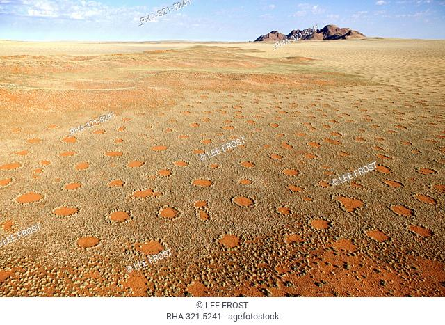 Aerial view from hot air balloon over magnificent desert landscape covered in 'Fairy Circles', Namib Rand game reserve Namib Naukluft Park, Namibia, Africa