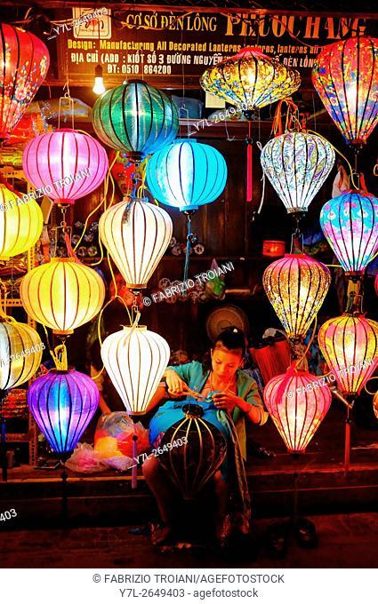 Lantern maker in Hoi An, Vietnam