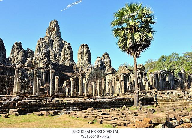 Cambodia, Siem Reap, ruins of the Bayon and Angkor Thom temple