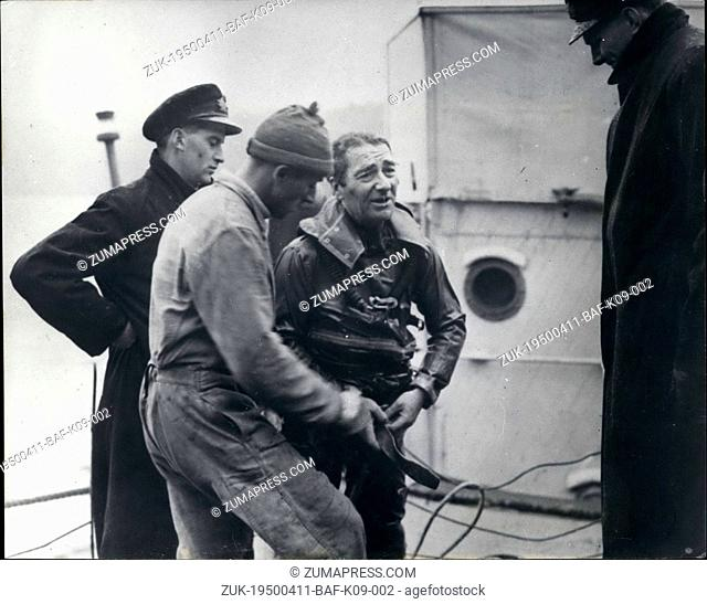 Apr. 11, 1950 - 11-4-50 Searching for the treasure of sunken Galleon at Tobermory Bay ?¢'Ǩ'Äú Keystone Photo Shows: Navy Diving expert and frogman ex-Commander...