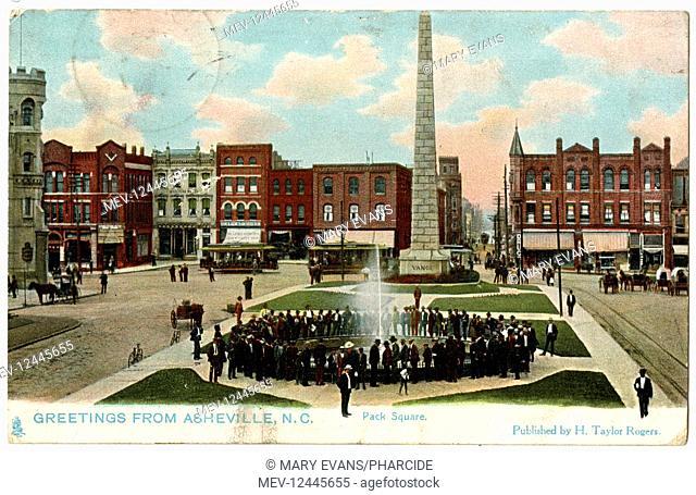 Pack Square with Vance Memorial Obelisk, Asheville, North Carolina, USA