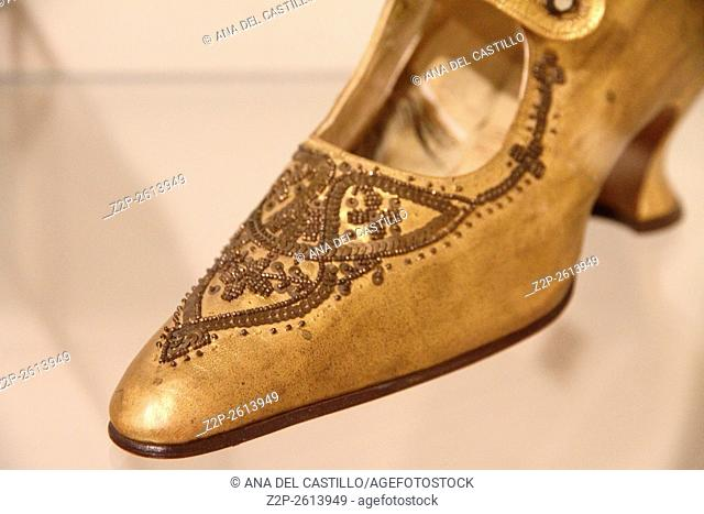 VIGEVANO ITALY-NOVEMBER 15, 2015: The Footwear museum as the result of a donation by the Bertolini family and was opened in 1972. Shoes detail
