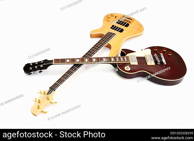 Musical guitar isolated on the white background