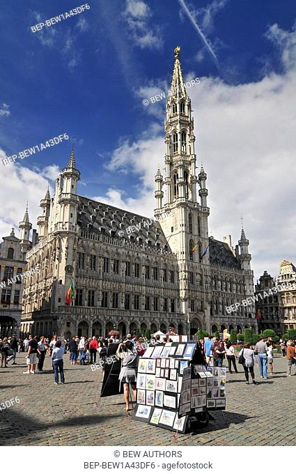 Town Hall (Hotel de Ville) on Grand Place (Grote Markt) tourist destination and most memorable landmark in Brussels Belgium