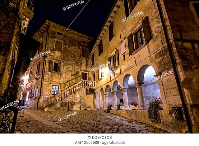 The picturesque Medieval town given over to artists known as Groznjan at night; Groznjan, Istria, Croatia