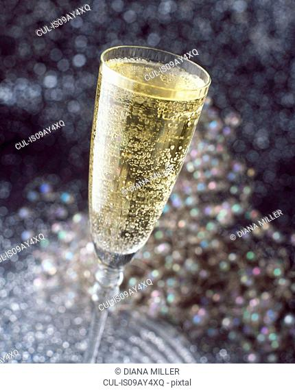 Alcoholic drinks, bubbly champagne in champagne flute