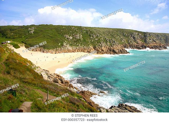 Porthcurno beach in the summertime, Cornwall, UK