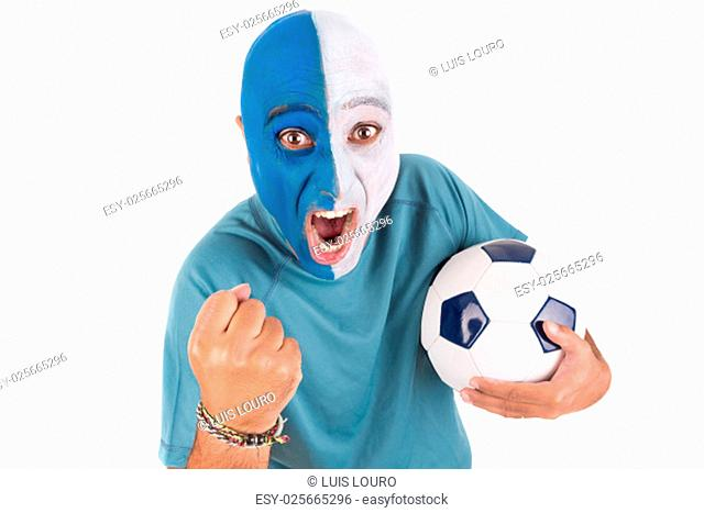 Football supporter with painted face with ball