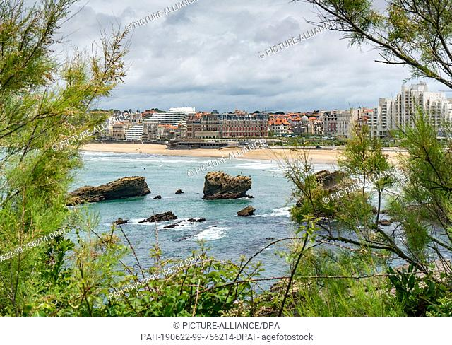 21 June 2019, France (France), Biarritz: The Hotel du Palais (M) on the beach of Biarritz. The upcoming G7 summit will take place here from 24.08