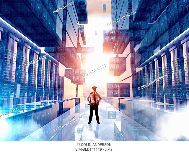 Caucasian security officer guarding virtual server room
