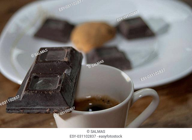 plain chocolate and espresso coffee for an Italian breakfast
