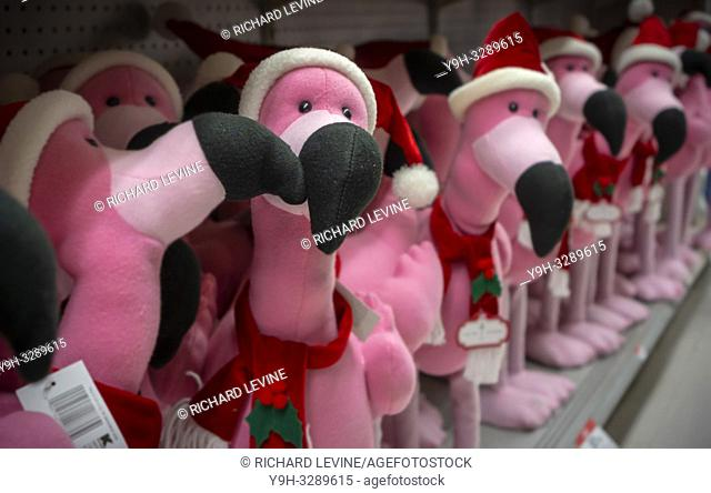 New York NY/USA-December 20, 2018 Seasonal display of Christmas themed flamingo plushes in a KMart store in New York on Thursday, December 20, 2018