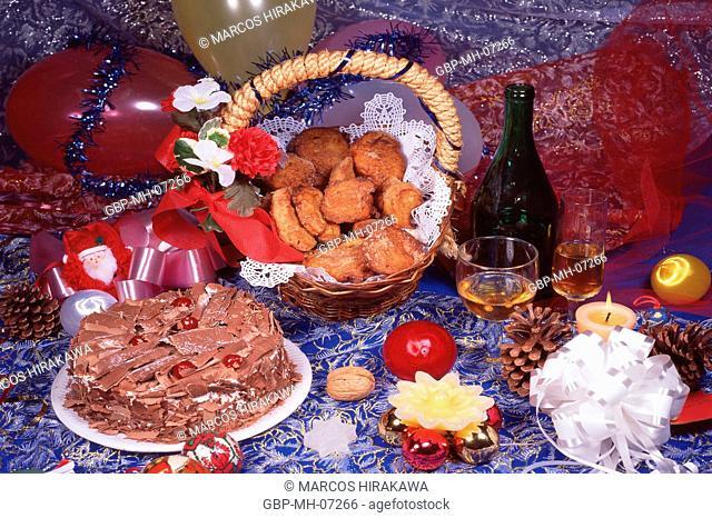 Christmas ornaments, cake; food
