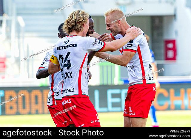Essevee's Olivier Deschacht celebrates after scoring during the Jupiler Pro League match between SV Zulte Waregem and KRC Genk, in Waregem