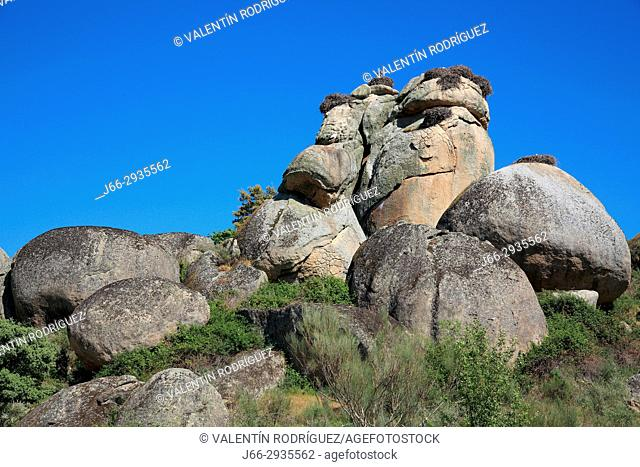 Granite bowls in the Los Barruecos natural park. Rock El Tesoro. Cáceres