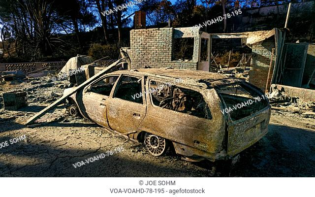 JANUARY 2018, VENTURA CALIFORNIA - Destroyed homesand cars from 2018 Thomas Fire off Foothill Road in the Via Arroyo and Via Pasito neighborhood