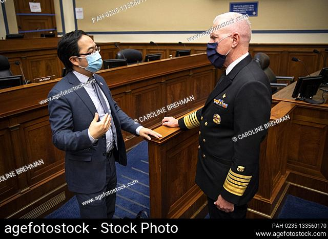 United States Representative Andy Kim (Democrat of New Jersey), left, speaks with Admiral Brett Giroir, United States Assistant Secretary for Health