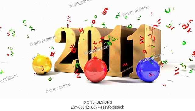 2011 on ground with Christmas decorations falling on - 3d illustration