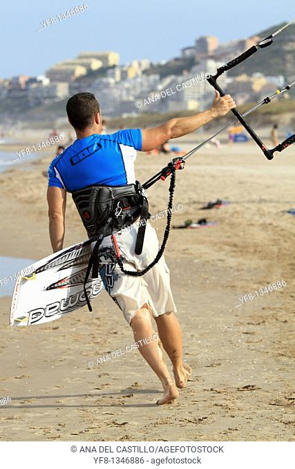 Surfers Kite surf Cullera beach Valencia province Spain Europe