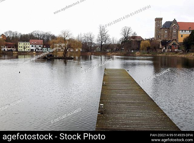 14 February 2020, Thuringia, Gera: Ducks swim on the swimming pond in cloudy weather (shot with a drone). Also for the next days changeable weather is announced