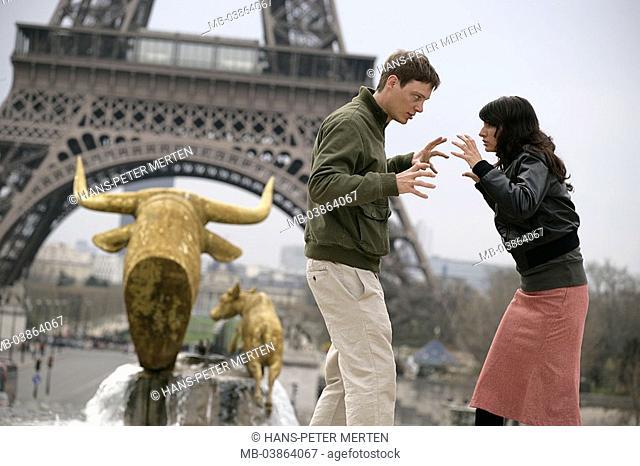 France, Paris, pair, Trocadero, well, sculptures, pair, young, pose, background, Eiffelturm, detail