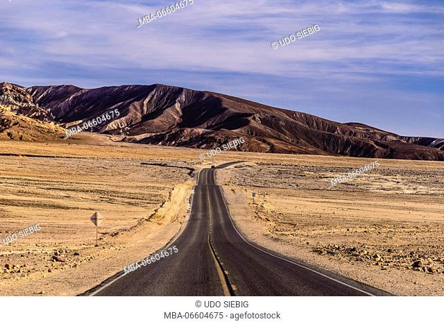 The USA, California, Death Valley National Park, seal Bad Water Road Golden canyon