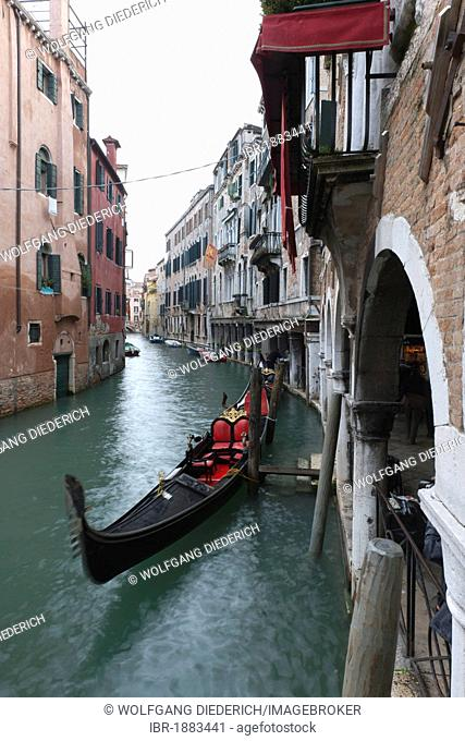Canal with gondola in Venice, Veneto, Italy, Southern Europe