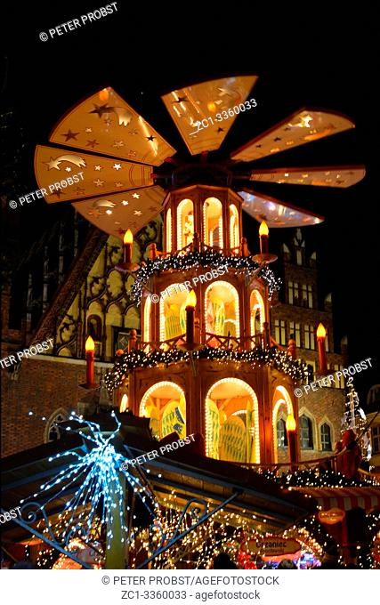 Christmas pyramid in front of the city hall of Wroclaw in the evening - Poland