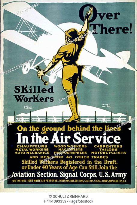First World War, WWI, World War I, world war, war, Europe, propaganda, poster, USA, American, recruitment poster, soldier, military, army, wrench, fly, airplane