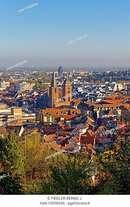 Europe, Germany, Rhineland-Palatinate, Neustadt an der Weinstrasse, wine route, Neustadt, Leopold Reitz way, Sonnenweg, town, view, architecture, trees