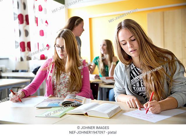 Teenage girls at school, Stockholm, Sweden