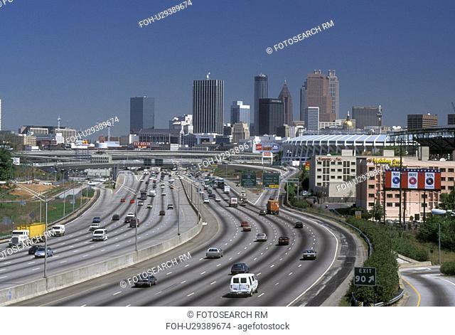skyline, expressway, Atlanta, GA, Georgia, Skyline of Atlanta from interstate I-85/75 in Atlanta