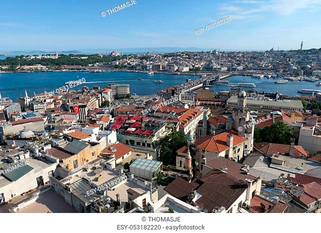 Galata Bridge, the Golden Horn, Bosphorus and Sultanahmet, the Oldtown of Istanbul, as seen from Galata Tower
