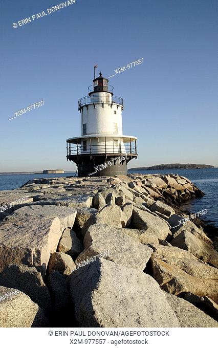 Spring Point Ledge Light at Fort Preble during the winter months  Located in South Portland, Maine USA, which is part of the New England seacoast  Notes: Spring...