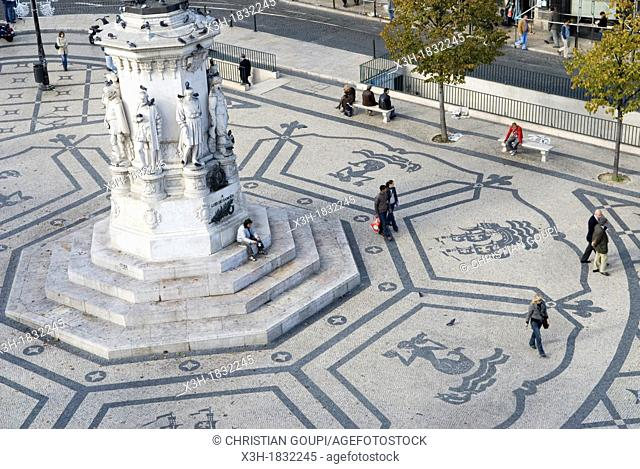 Camoes square, district of Bairro Alto and Chiado, lisbon, portugal, europe