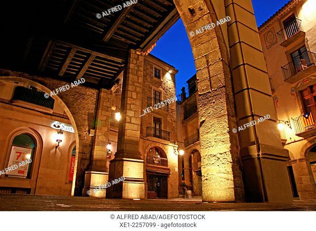 Arcades, Plaça Major at night, Solsona, Catalonia, Spain