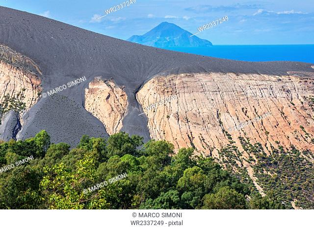View of Gran Cratere and Finicudi Island, Vulcano Island, Aeolian Islands, UNESCO World Heritage Site, north of Sicily, Italy, Mediterranean, Europe