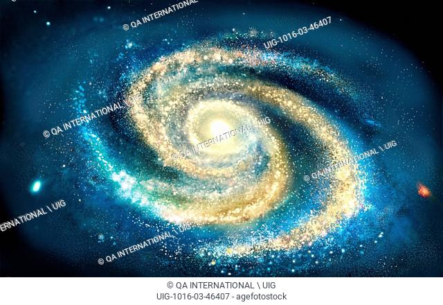 From above, the Milky Way appears as a spiral that rotates on itself around a nucleus