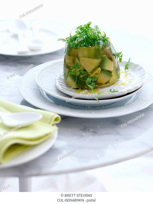 Plate of avocado jelly with micro herbs