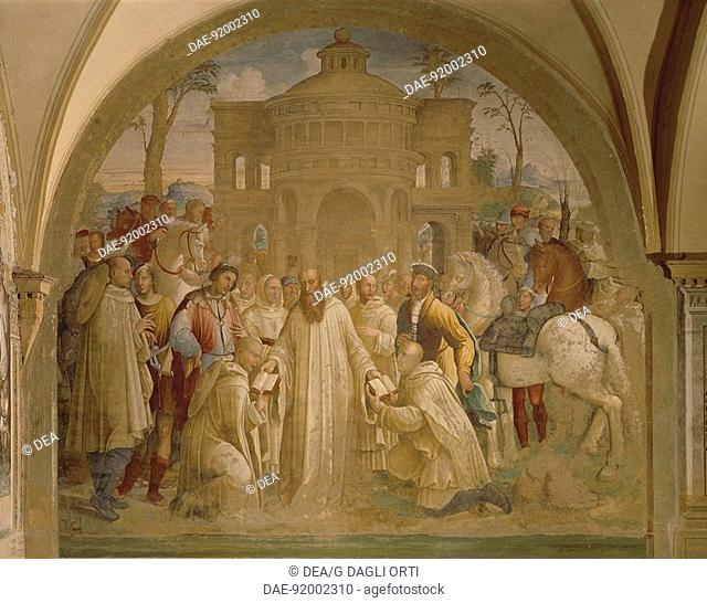 Benedict sending Mauro to France and Placido to Sicily, scene from the Stories of St Benedict of Monte Oliveto Maggiore, 1540, by Bartolomeo Neroni