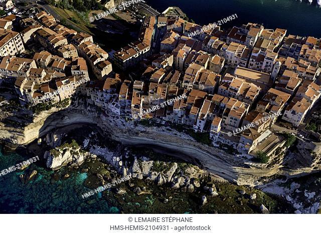 France, Corse du Sud, Bonifacio, old town (aerial view)