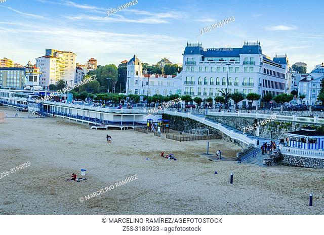 View of the Santander Bay and El Sardinero Beach, with Casino and the Grand Hotel Sardinero in italy' square - Plaza de Italia